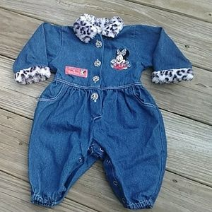 Disney babies jean one piece outfit. Size 6-9M